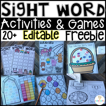 Editable Sight Word Games & Activities for Spring FREEBIE Distance Learning