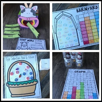 Editable Sight Word Games, Printables & Activities for Spring (April, Farm)