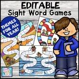 Sight Word Games EDITABLE Kindergarten 1st 2nd | Literacy Centers EDITABLE
