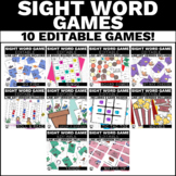 Editable Sight Word Games Bundle for Elementary Students