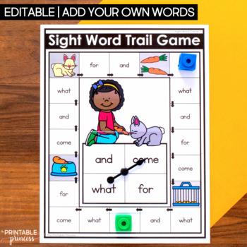 Editable Sight Word Games for Kindergarten