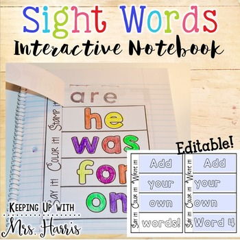 Editable Sight Word Interactive Notebook - FREE SAMPLE