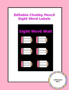 Editable Sight Word Labels