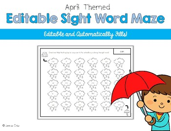 Editable Sight Word Maze for April