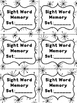 Editable Sight Word Memory Game