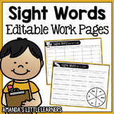 Editable Sight Word Practice Pages - Games and Activities