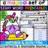 Editable Sight Word Printables