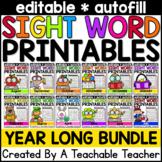 Editable Sight Word Printables Bundle