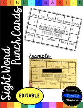 Editable Sight Word Punch Cards