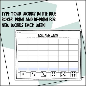 Editable Sight Word Roll and Write