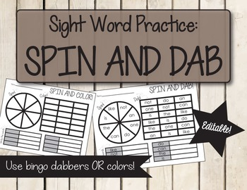 Editable Sight Word Spin and Dab