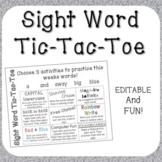 Editable Sight Word Tic Tac Toe