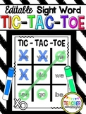 Editable Sight Word Tic-Tac-Toe Game