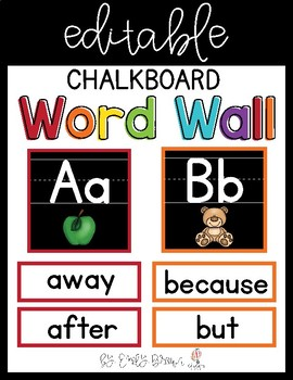 Editable Sight Word Wall Chalkboard Theme