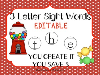 Editable Sight Word Work for 3 Letter Words