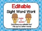 Editable Sight Word Work (palabras de alta frecuencia)
