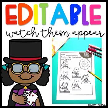 Editable Sight Word Worksheets