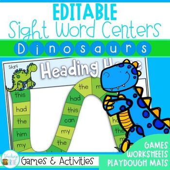 Editable Sight Words - Sight Word Activities (Dinosaur Themed)