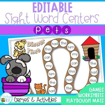 Editable Sight Word Worksheets and Games - Pet Themed