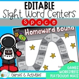 Editable Sight Word Centers Space Themed
