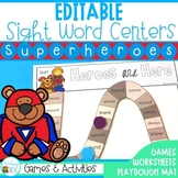 Editable Sight Word Centers Superhero Theme