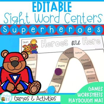 Editable Sight Word Activities - Superhero Themed