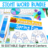 Editable Sight Word Worksheets and Games Bundle