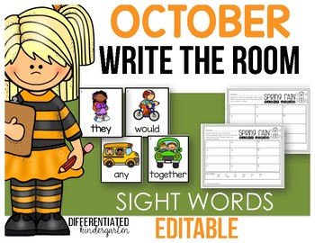 Editable Sight Word Write The Room - October