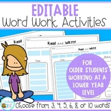Editable Sight Words for older students