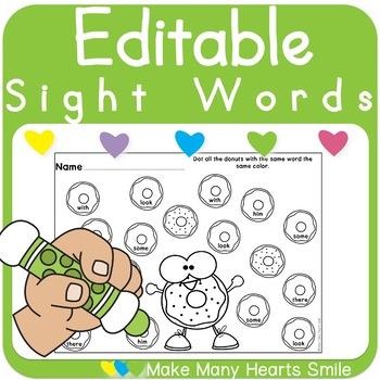 Editable Sight Words: Donuts   MMHS43