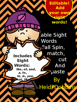 Editable Sight Words Spin Match Cut and Paste