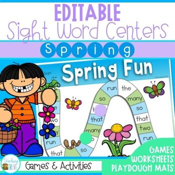 Editable Sight Word Centers for Spring