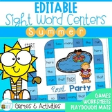 Editable Sight Word Centers for Summer