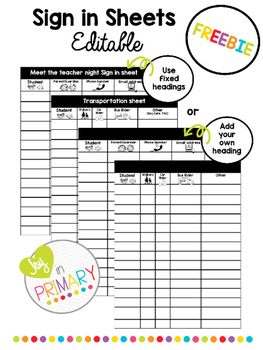 editable sign in sheets freebie by joy in primary tpt