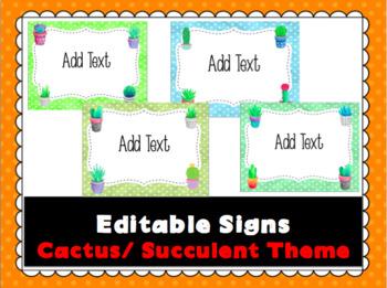 Editable Signs- Cactus / Succulent Theme FREEBIE