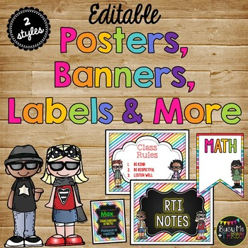 Editable Signs Posters Labels Banners Bright Melonheadz Edition
