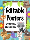 Editable Signs Posters : Woodland Animals Theme, Forest