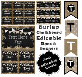 Editable Signs, Posters, and Bunting - Burlap and Chalkboard