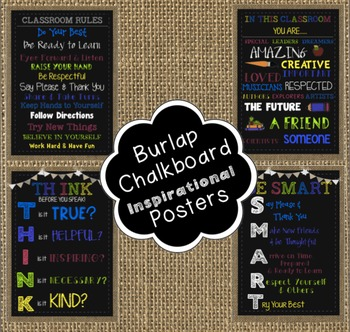 Burlap and Chalkboard Inspirational Posters