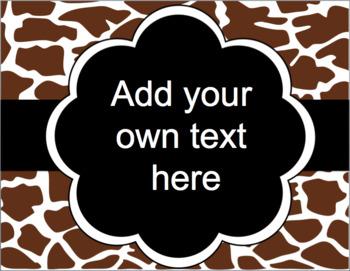 Editable Signs and Posters - Animal Hide Safari Print