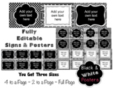 Editable Signs and Posters - Black and White