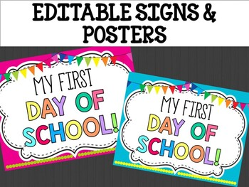 Editable Signs and Posters : White Board Theme, Back to School, First Day