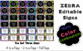 Editable Signs and Posters - Zebra