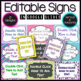Editable Signs in Google Slides™