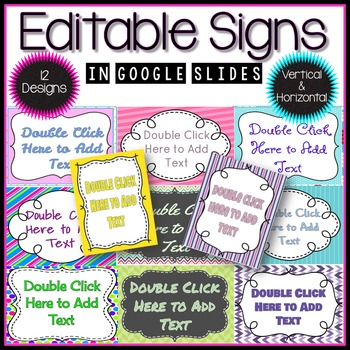 Editable Signs in Google Slides™
