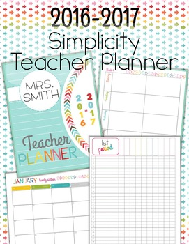 Editable Simplicity Teacher Planner/Binder 2016-2017