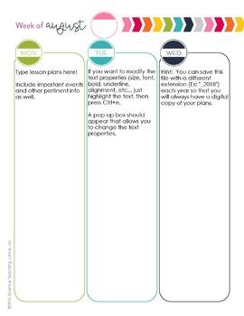 Editable Simplicity Teacher Planner/Binder 2017-2018