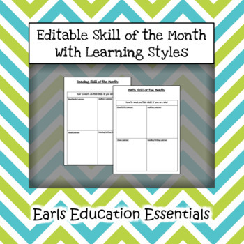 Editable Skill of the Month With Learning Styles