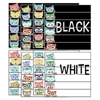 Editable Skinny Name Tags {Colorful Owls Edition}