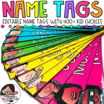Name Tags 400+ Kid Choices | Editable Labels